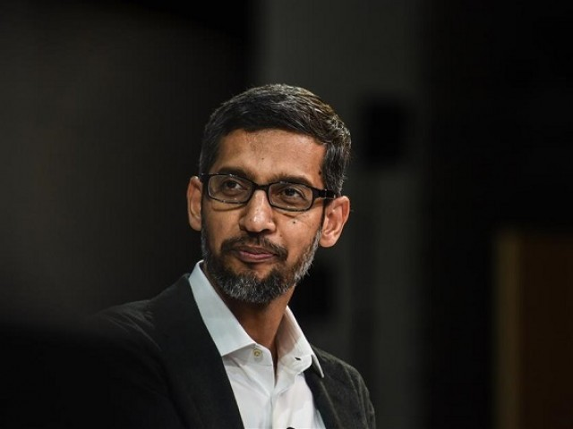 In this file photo taken on November 1, 2018, Sundar Pichai, CEO, Google, speaks at the New York Times DealBook conference in New York City.  PHOTO: AFP