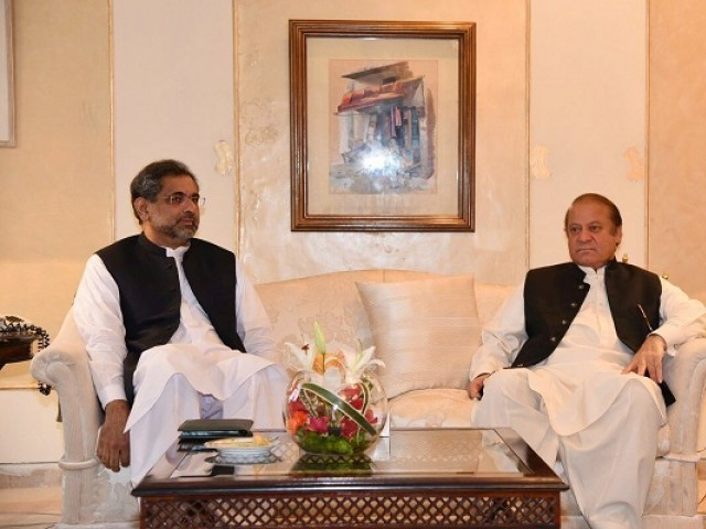 Former premiers; Shahid Khaqan Abbasi [L] and Nawaz Sharif [R]. PHOTO: FILE