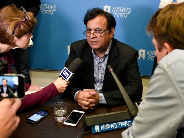 Saiful Malook speaks to journalists during a press conference in the Hague. PHOTO:AFP