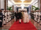 A file photo of Mohamed bin Zayed receiving PM Imran Khan on his last visit. PHOTO: PID