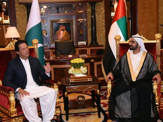 PM Imran meets his counterpart Mohammed bin Rashid al Maktoum at Dubai's Zabeel Palace. PHOTO COURTESY: PTI OFFICIAL