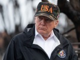 US President Donald Trump, pictured viewing damage from wildfires in Malibu, California, on November 17, 2018, says he won't listen to an audio tape of the murder of journalist Jamal Khashoggi. PHOTO AFP