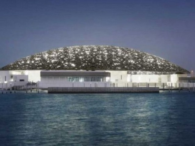 Louvre Abu Dhabi's exterior at night. PHOTO: MOHAMED SOMJI via LOUVRE ABU DHABI