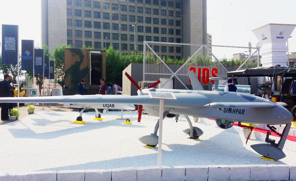 Pakistan manufactured Shahpar drone. -Photo by author