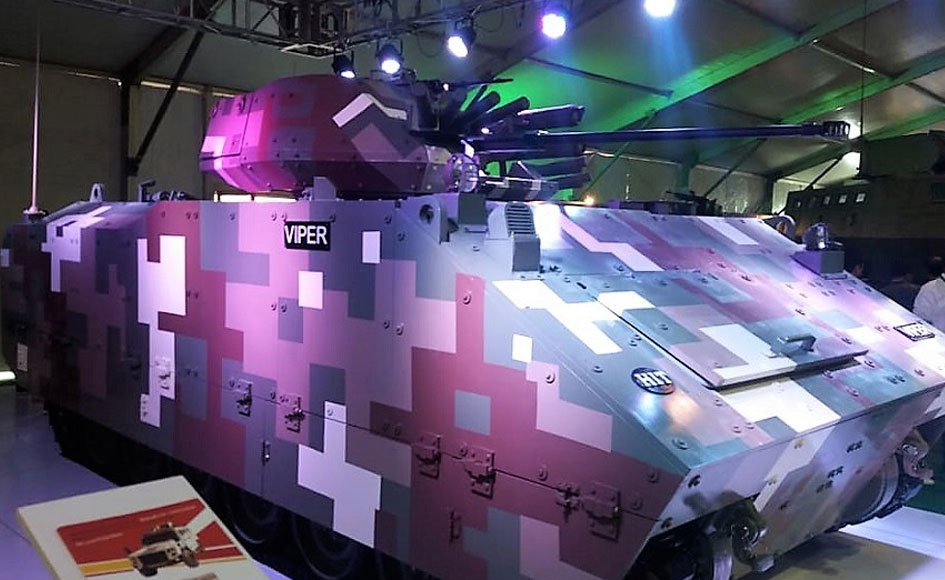 Viper IFV is armed with a 30mm autocannon and Kornet anti-tank guided missiles. -Photo by author
