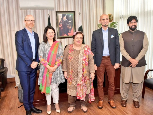 Facebook team with Minister of Human Rights Shireen Mazari. PHOTO: PID