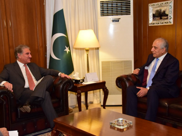 FM Qureshi, assured the US side of Pakistan's steadfast support for a negotiated settlement.    PHOTO: TWITTER/ @ForeignOfficePk