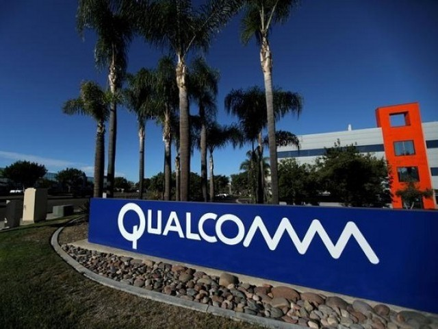 A sign on the Qualcomm campus is seen in San Diego California US