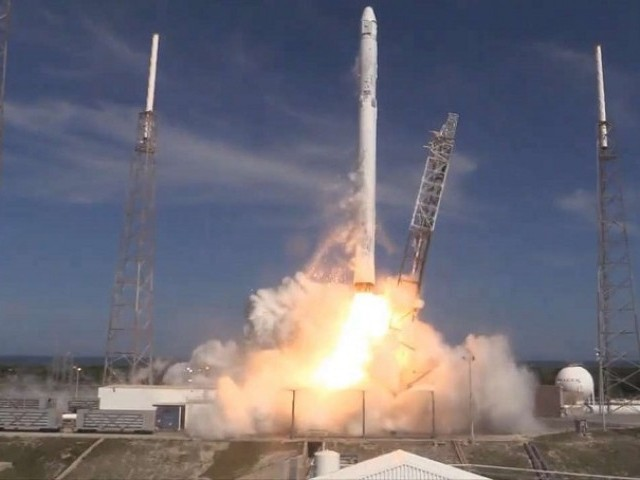A SpaceX Falcon 9 rocket and Dragon capsule blasted off from Cape Canaveral Air Force Station at 4:10