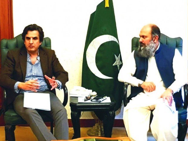 Minister for Planning, Development and Reform Makhdoom Khusro Bakhtiar in a meeting with Balochistan Chief Minister Jam Kamal Khan at the Balochistan House in Islamabad. PHOTO: EXPRESS