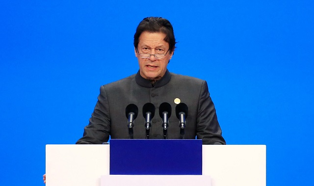 Prime Minister Imran Khan speaks at conference in Shanghai. PHOTO:AFP