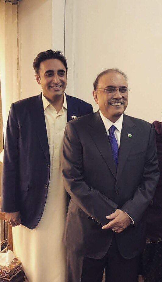 Father and son; Bilawal Bhutto Zardari with Asif Ali Zardari. PHOTO: PPP