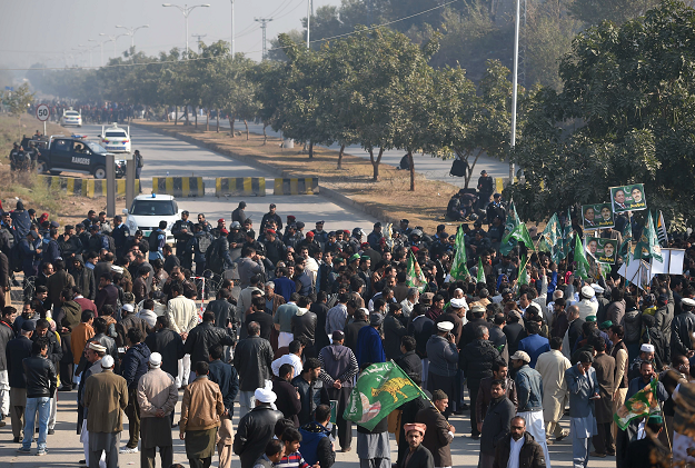 PML-N protesters near the accountability court. -AFP