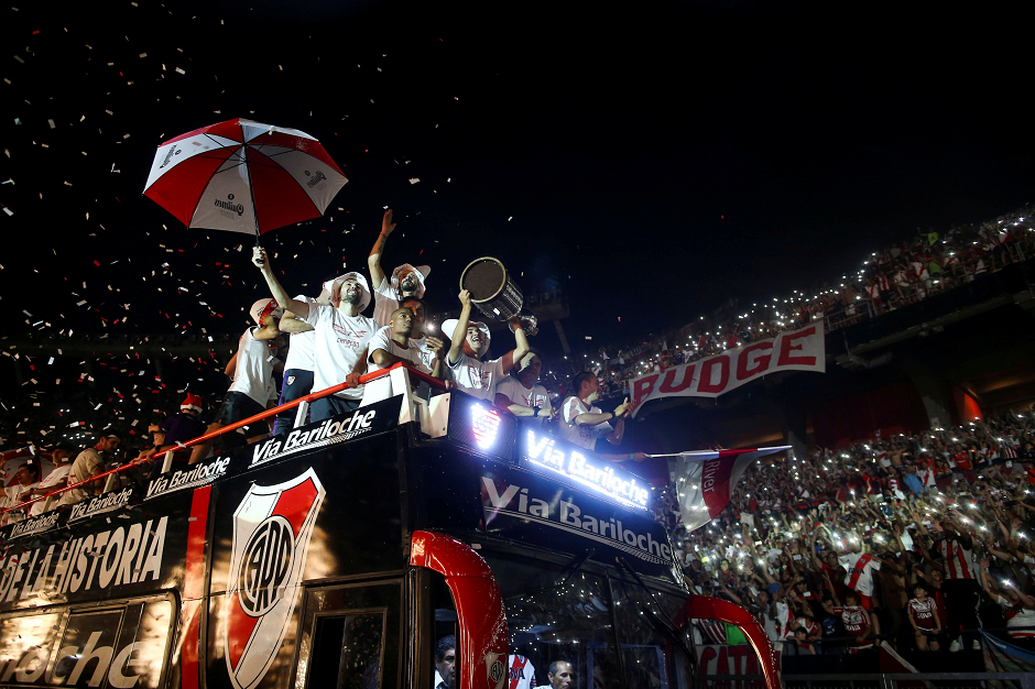 Players of River Plate celebrate after winning the Copa Libertadores in Madrid on December 9, in Buenos Aires, Argentina, December 23, 2018. PHOTO: REUTERS