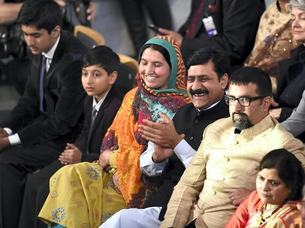 Malala's brothers, Khushal and Atal, mother Toor Pekai, father Ziauddin and co-laureate Kailash Satyarthi's son Bahawan at the Nobel Peace Prize ceremony in Oslo. PHOTO: AFP