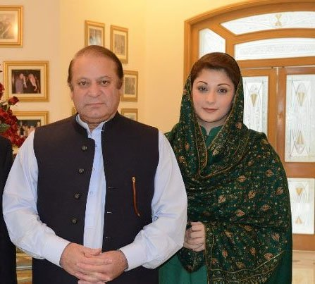 Nawaz Sharif with daughter Maryam Nawaz. PHOTO: ONLINE