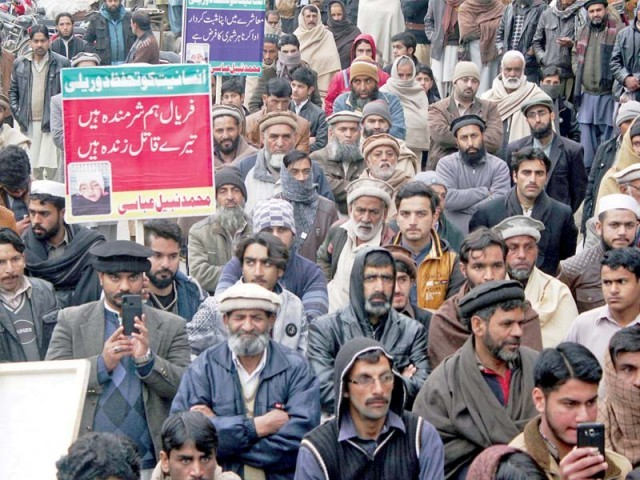 Citizens demand justice for three-year-old girl in Abbottabad. PHOTO: ONLINE