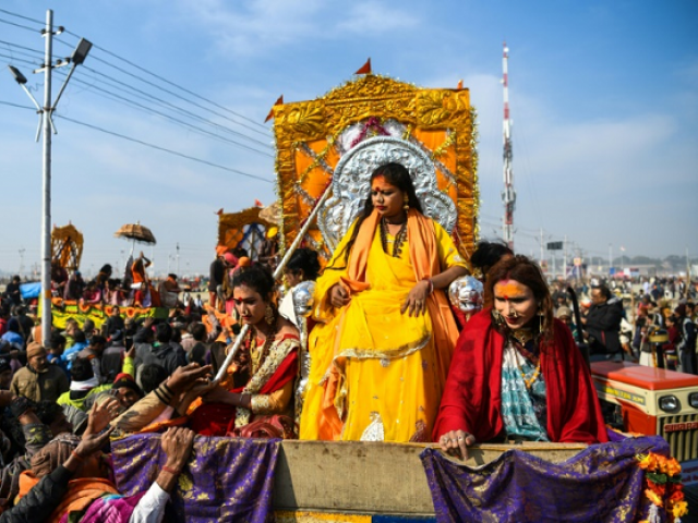 Tuesday was the first time that members of India's estimated two-million-strong transgender community have been allowed to wade in the water at India's Kumbh Mela festival. PHOTO: AFP
