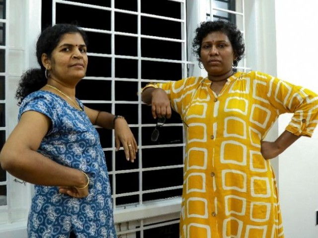 Hindu devotees went on a violent rampage after Bindu Ammini (R) and Kanakadurga entered a holy Hindu temple in January. PHOTO: AFP