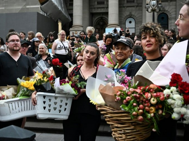 Hundreds attended the vigil of murdered Israeli student Aiia Maasarwe in Melbourne on Friday. PHOTO: AFP