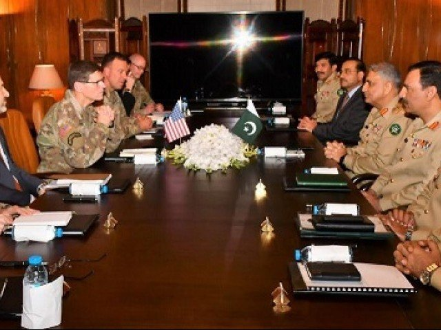 Pak-US military hold talks in Rawalpindi,GHQ to discuss Afghan peace process. PHOTO: ISPR