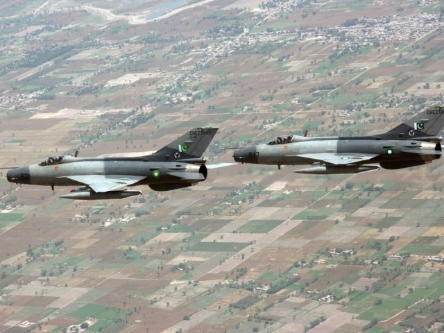 A file photo of A Pakistan Air Force (PAF) fighter jet F7-PG. PHOTO: PAF