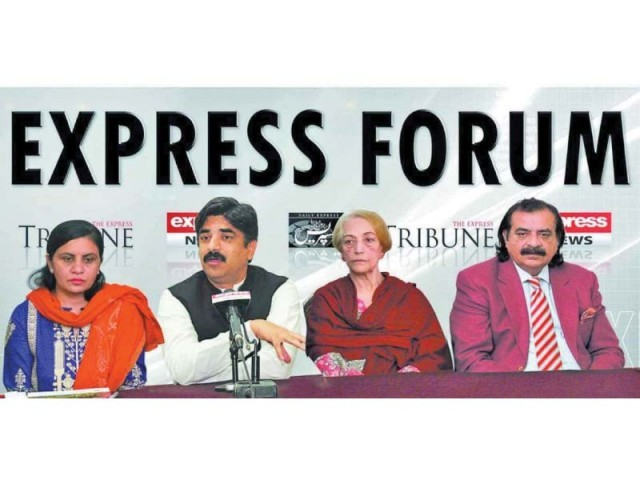 Adviser to Punjab Chief Minister for Agriculture Sardar Abdul Haye Dasti speaks at Express Forum. PHOTO: EXPRESS