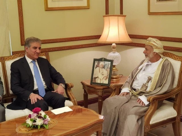 Foreign Minister Shah Mehmood Qureshi meets Omani counterpart Yusuf bin Alawi in Muscat on Wednesday. PHOTO: PID