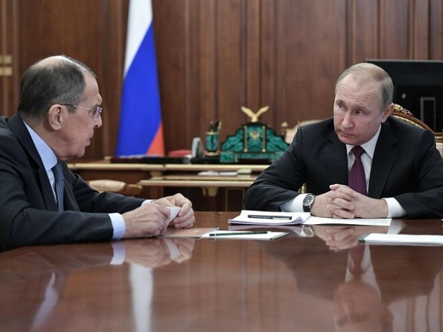 Russia's President Vladimir Putin (R) attends a meeting with Russia's Foreign Minister Sergei Lavrov (L) and Russia's Defence Minister in Moscow on February 2, 2019.  PHOTO: AFP