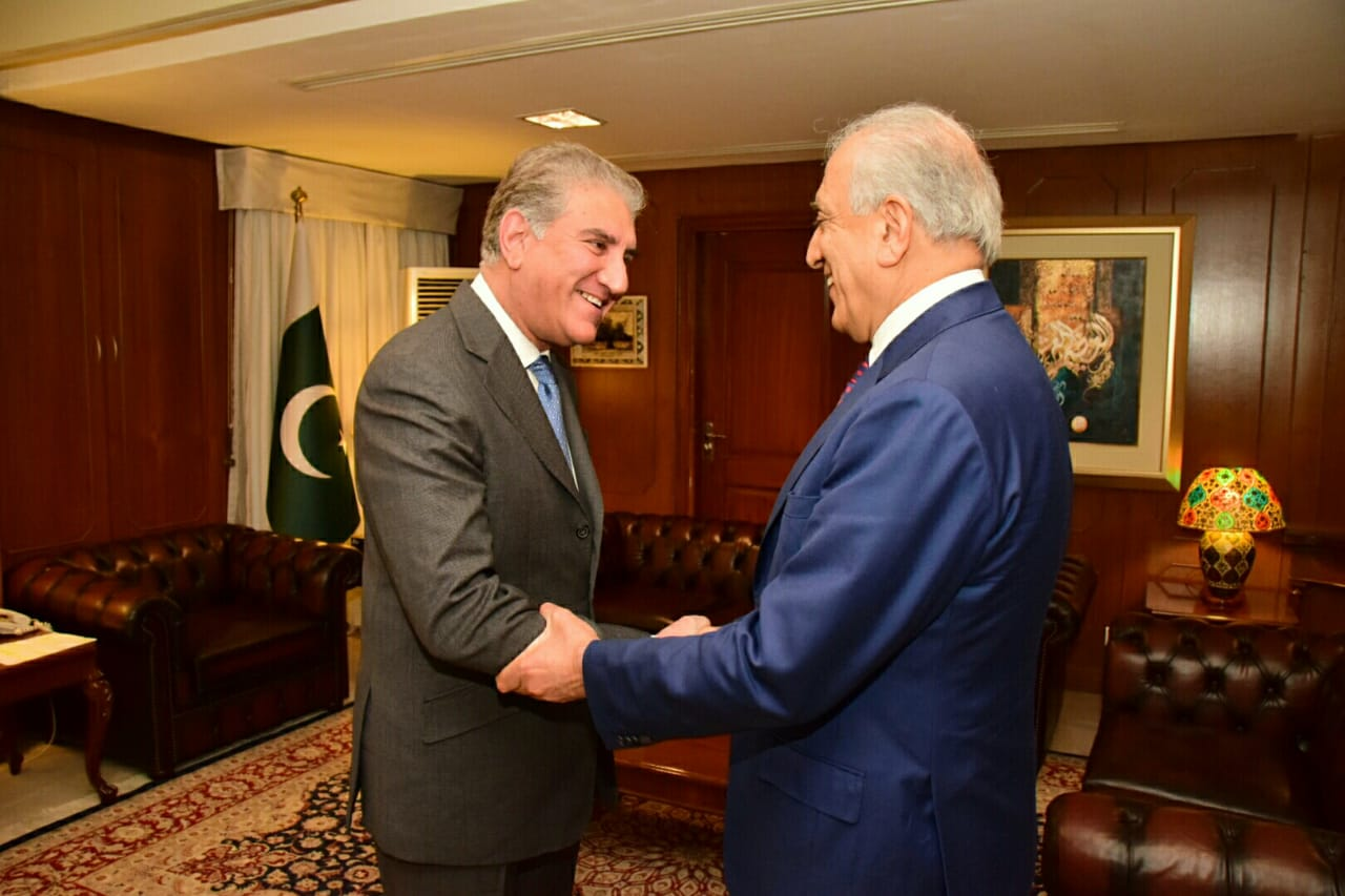 In this file photo, US special envoy Zalmay Khalilzad calls on Foreign Minister Shah Mehmood Qureshi in Islamabad. PHOTO: FOREIGN OFFICE