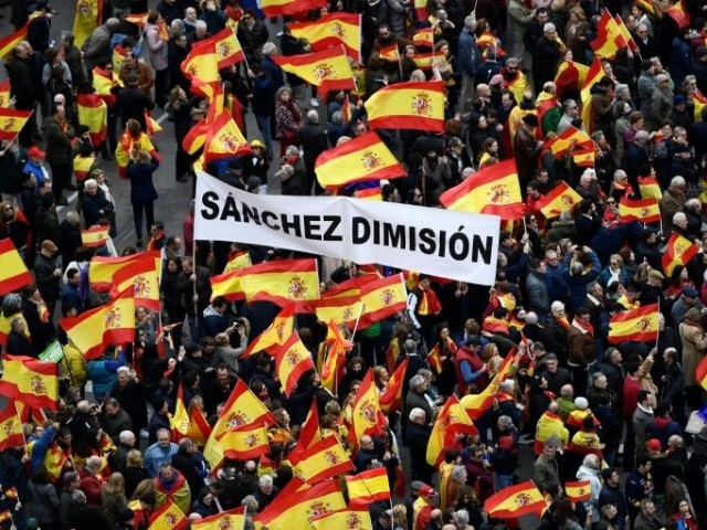 The protest comes just two days before the high-profile trial of Catalan separatist leaders in Madrid. PHOTO: AFP