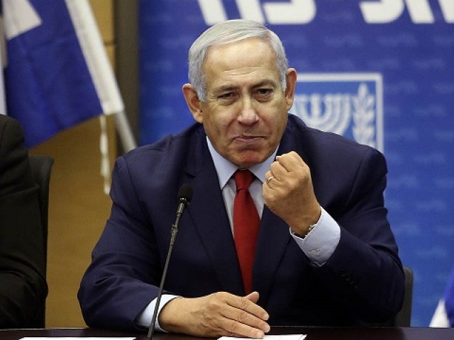 Israeli Prime Minister Benjamin Netanyahu (C) delivers a statement at the Israeli Parliament in Jerusalem, on December 24, 2018. PHOTO: AFP