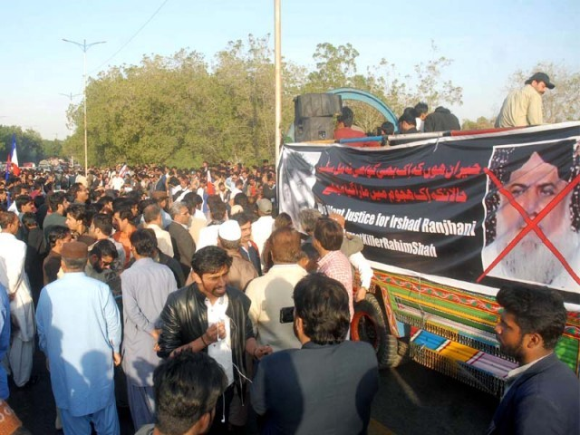 Members of Sindh Civil Society are holding protest demonstration against the killing of a local leader of a Sindh nationalist party Irshad Ranjhani at Shahra-e-Faisal road in Karachi on February 11, 2019. PHOTO: PPI