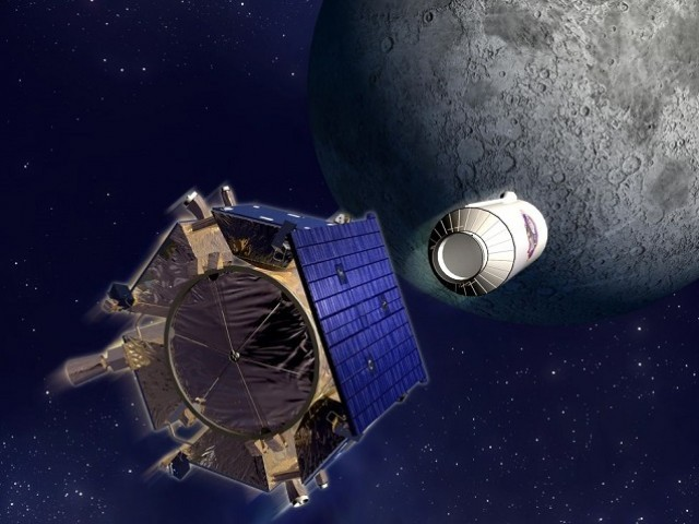 An artist's impression of the Centaur upper stage detaching from the LCROSS spacecraft. PHOTO: NASA