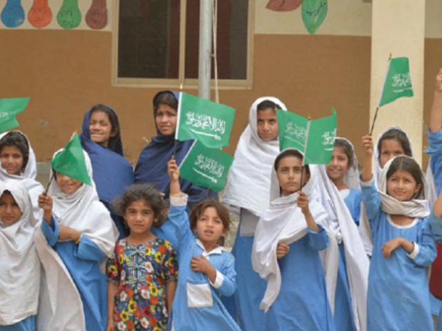 Girls from a government school built with Saudi aid in Kot Addu, Muzzaffargarh, Punjab. PHOTO COURTESY: KSHARC