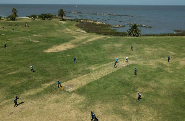 View of the cricket field with cricket players in Uruguay's capital Montevideo. PHOTO: AFP