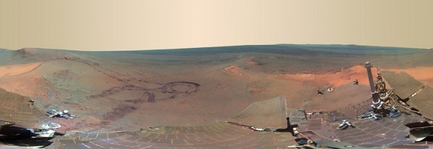 A panoramic view of Mars, put together from 817 images taken by the rover Opportunity. PHOTO: AFP