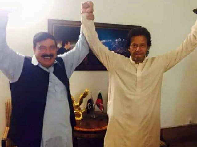 A file photo of Railways Minister Sheikh Rashid with Prime Minister Imran Khan.