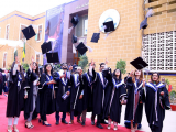 MBBS graduates at the graduation ceremony at Liaquat University of Medical and Health Sciences on Saturday. PHOTO: SHUAIB