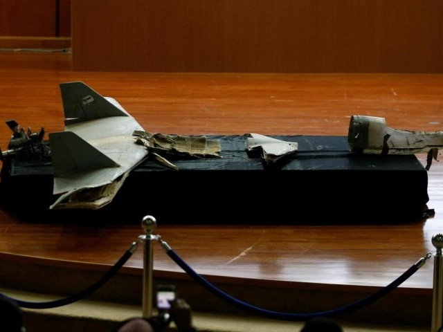 A destroyed drone is seen at the news conference in Riyadh, Saudi Arabia, January 20, 2019. PHOTO: REUTERS