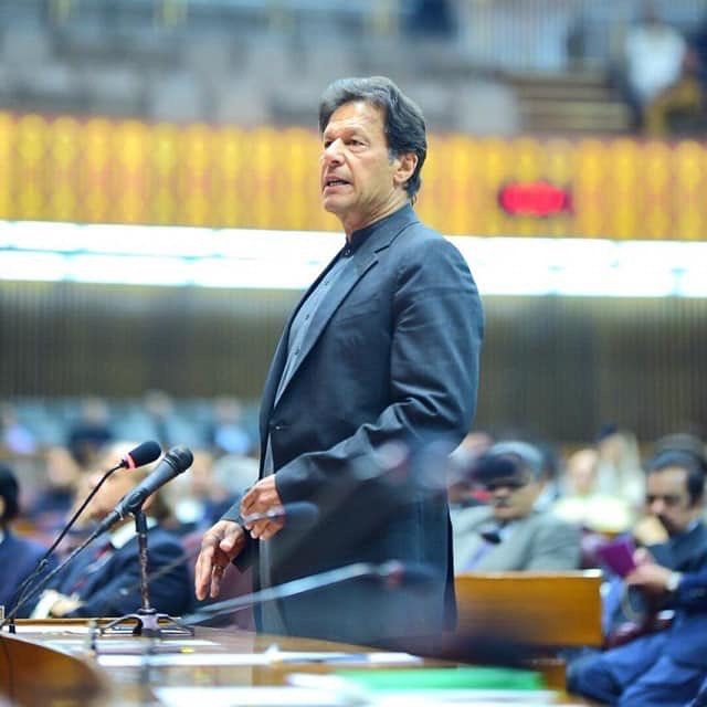 Imran Khan addressing parliament in February 2019. PHOTO: INSTAGRAM/@imrankhan.pti