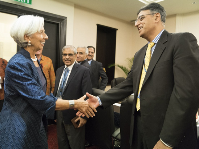 Finance Minister Asad Umar (R) and IMF Chief Christine Lagarde (L). PHOTO COURTESY: TWITTER/IMFNews