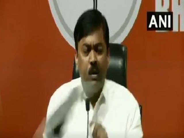 Shoe hurled at GVL Narasimha Rao during press conference. PHOTO: ANI