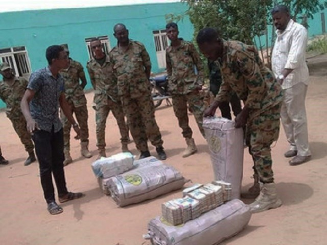 Security forces find euros, dollars and Sudanese pounds totalling more than $130m. PHOTO COURTESY: DABANGA