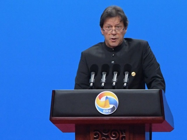 Prime Minister Imran Khan speaks during the opening ceremony of the Belt and Road Forum in Beijing. PHOTO: AFP