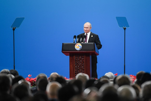 Russian President Vladimir Putin speaks during the opening ceremony of the Belt and Road Forum in Beijing in April 26, 2019. PHOTO: AFP