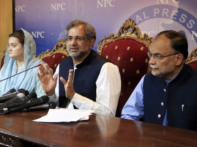 PML-N leaders address a press conference at National Press Club in Islamabad. PHOTO: ONLINE