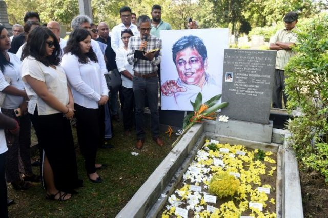 Wickrematunge was stabbed to death by members of a military intelligence unit in January 2009. PHOTO: AFP