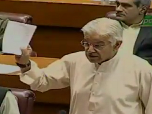 PML-N senior leader Khawaja Asif. during addressing the National Assembly session. SCREENGRAB