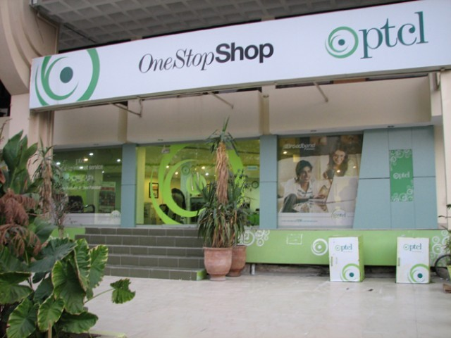 A photo of a PTCL outlet. PHOTO: PTCL